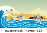 tsunami  flood disaster  vector ... | Shutterstock .eps vector #719854813