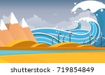 tsunami  flood disaster  vector ... | Shutterstock .eps vector #719854849