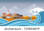 tsunami  flood disaster  vector ... | Shutterstock .eps vector #719854879