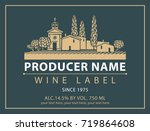 vector label for bottle of wine ... | Shutterstock .eps vector #719864608