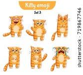 vector set of cute cat... | Shutterstock .eps vector #719867746