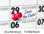 wall calendar with a red pin  ... | Shutterstock . vector #719869663