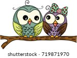 couple owls on branch  | Shutterstock .eps vector #719871970