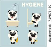 set of funny panda bear is... | Shutterstock .eps vector #719875450