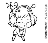 cute alien girl listening to... | Shutterstock .eps vector #719878618