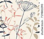vector floral seamless pattern... | Shutterstock .eps vector #719881090