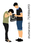 woman looking for a wallet ... | Shutterstock .eps vector #719886493