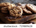 chocolate cookies on wooden... | Shutterstock . vector #719889628