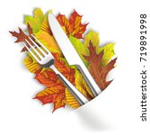 autumn foliage with knife and...