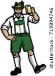 old man wearing lederhosen and... | Shutterstock .eps vector #719894746