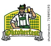 old man happy oktoberfest badge | Shutterstock .eps vector #719895193