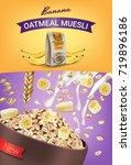 oatmeal muesli ads. vector... | Shutterstock .eps vector #719896186