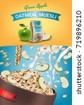 oatmeal muesli ads. vector... | Shutterstock .eps vector #719896210