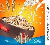 oatmeal muesli ads. vector... | Shutterstock .eps vector #719896354