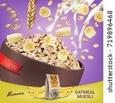oatmeal muesli ads. vector... | Shutterstock .eps vector #719896468