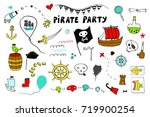 pirate party line illustrations ... | Shutterstock . vector #719900254