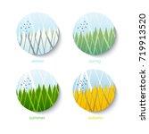 four seasons round landscape... | Shutterstock .eps vector #719913520