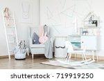 pink pillow on grey armchair... | Shutterstock . vector #719919250