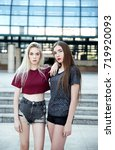 two beautiful young woman in... | Shutterstock . vector #719920093