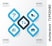 Architecture Colorful Icons Se...