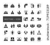 meeting   conference icon set ... | Shutterstock .eps vector #719923189