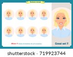set of woman expression... | Shutterstock .eps vector #719923744