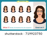 set of woman expression... | Shutterstock .eps vector #719923750