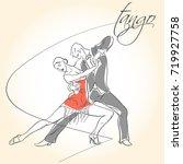 latin dances. argentine tango   ... | Shutterstock .eps vector #719927758