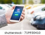 mobile parking app on... | Shutterstock . vector #719930410