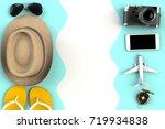 top view of traveler's... | Shutterstock . vector #719934838