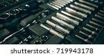 closeup top view of set...   Shutterstock . vector #719943178