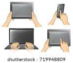 vector set of  hand realistic... | Shutterstock .eps vector #719948809