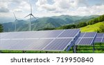 solar panels with wind turbines ... | Shutterstock . vector #719950840