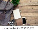 backpack with traveler... | Shutterstock . vector #719951278