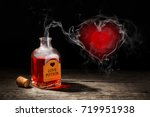 love potion is red in a bottle. ... | Shutterstock . vector #719951938