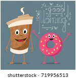 donut and coffee from my hands... | Shutterstock .eps vector #719956513