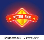 retro signboard with electric... | Shutterstock .eps vector #719960044