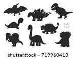 baby dinosaurs cute doodle... | Shutterstock . vector #719960413
