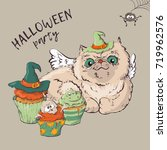 cute black kitten and dog... | Shutterstock .eps vector #719962576