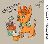 cute black kitten and dog... | Shutterstock .eps vector #719962579