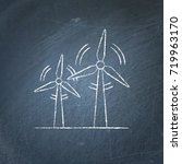 wind turbine icon chalkboard... | Shutterstock .eps vector #719963170