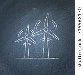 wind turbine icon chalkboard... | Shutterstock .eps vector #719963170