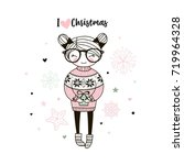 cute merry christmas postcard... | Shutterstock .eps vector #719964328