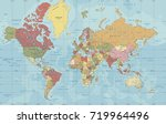 detailed political world map in ... | Shutterstock .eps vector #719964496