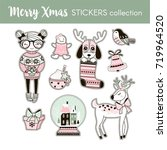 stickers collection with cute... | Shutterstock .eps vector #719964520