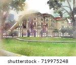 scenery of garden  buildings... | Shutterstock . vector #719975248