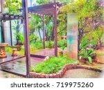 scenery of garden  buildings... | Shutterstock . vector #719975260
