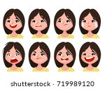 woman's emotions set of... | Shutterstock .eps vector #719989120