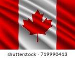 waving flag of canada on silk... | Shutterstock .eps vector #719990413