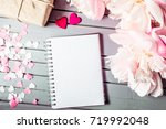 peonies flowers and hearts with ...   Shutterstock . vector #719992048